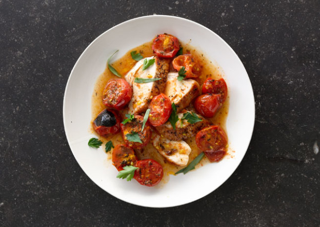 Recipe: Chicken with Herb-Roasted Tomatoes and Pan Sauce | Export Meat ...