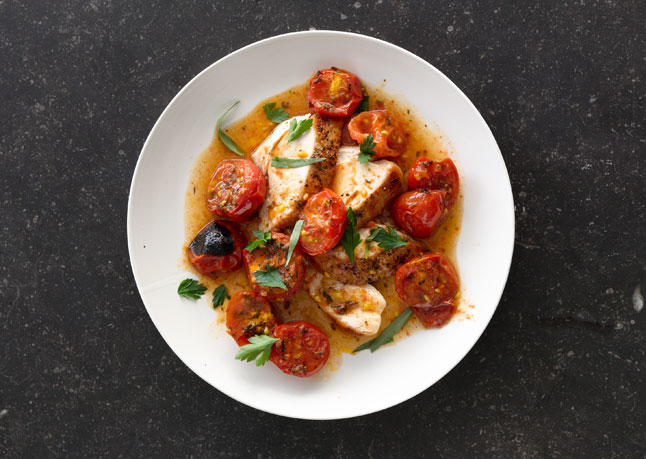 Recipe: Chicken with Herb-Roasted Tomatoes and Pan Sauce ...